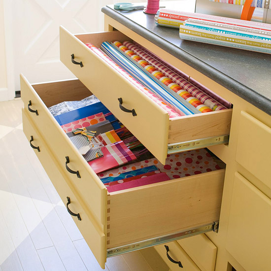 Store Gift Wrapping Supplies in Drawers