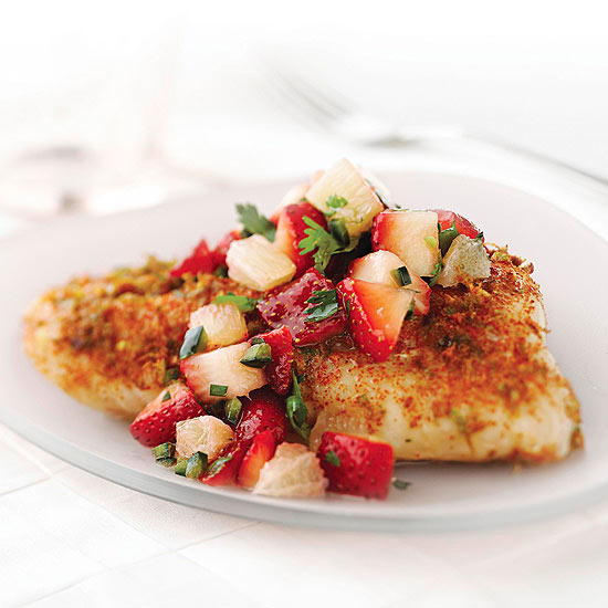 Grilled Bas with Strawberry Salsa