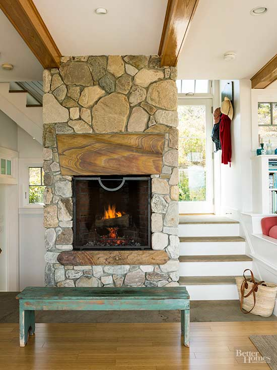 Salvaged Wood Mantel Stone Fireplace