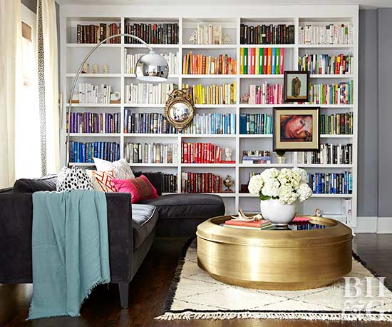 Living Room With Large Decorated Bookshelf
