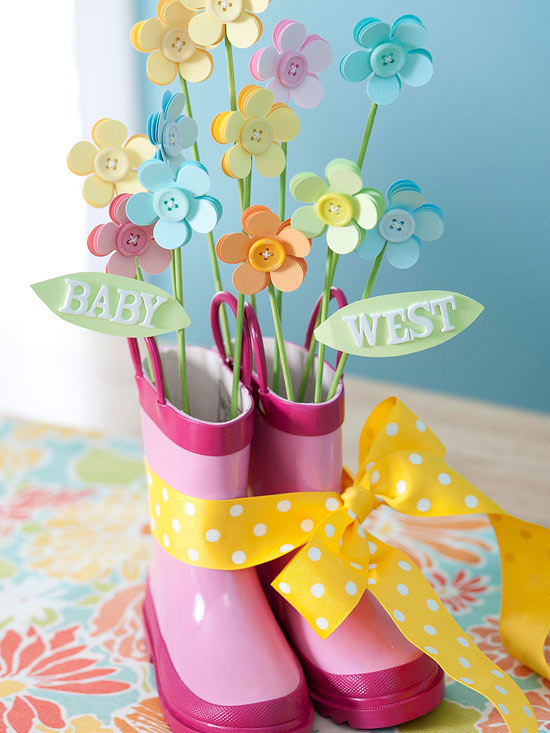 Rain Boots and Flowers Centerpiece