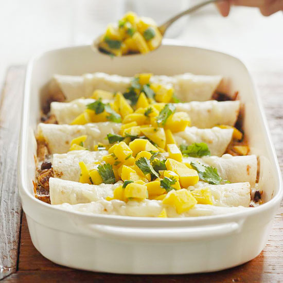 Enchiladas with Fresh Mango Salsa