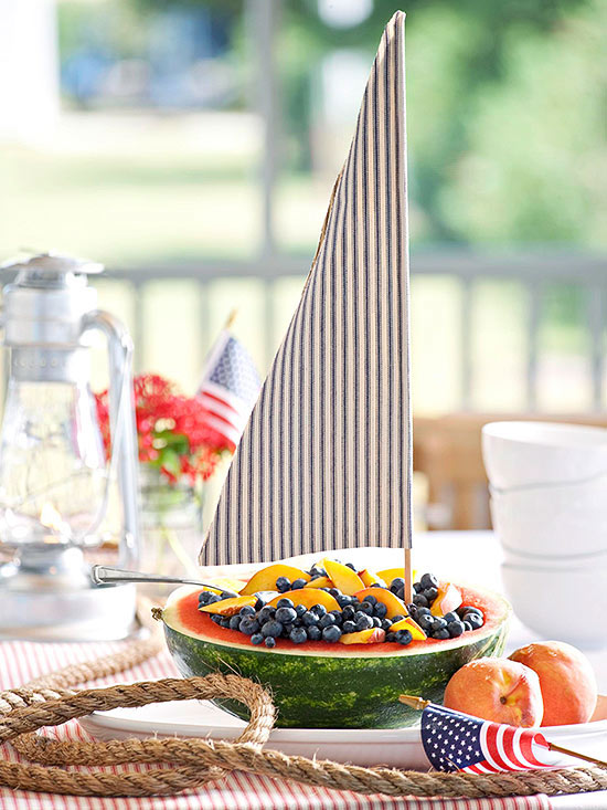 Watermelon boat with peaches and blueberries