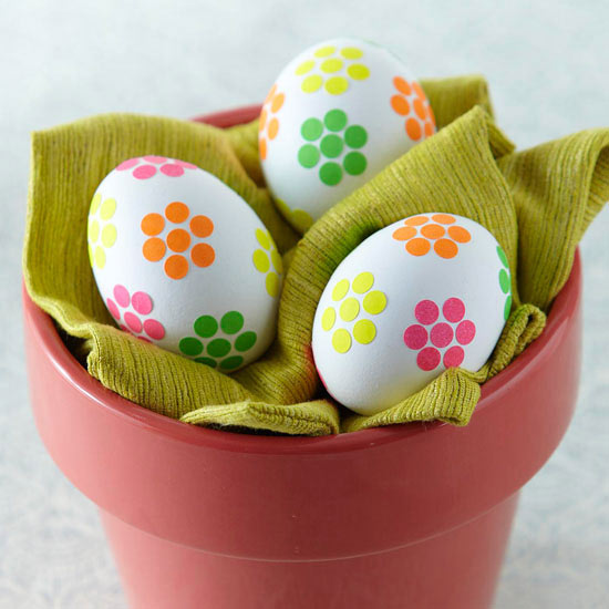 Flower Sticker Easter Eggs