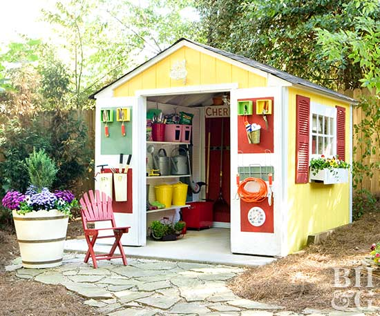 Yellow and red garden shed