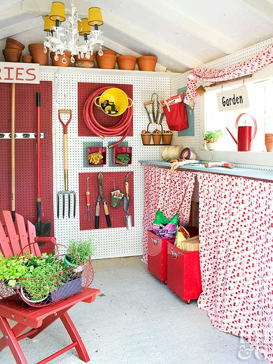 Interior of shed, red and white fabric