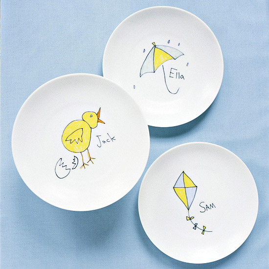 Dishes with Child's Artwork
