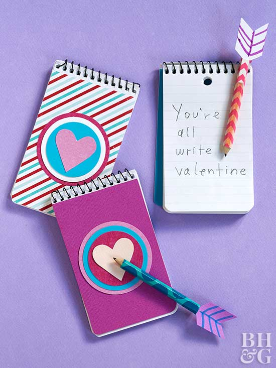 valentine's day crafts, valentine's day, notebook, arrow pencil