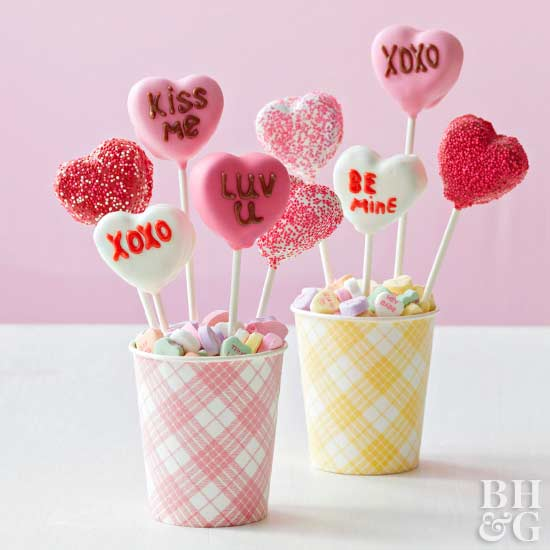 cups with heart-shaped cake pops