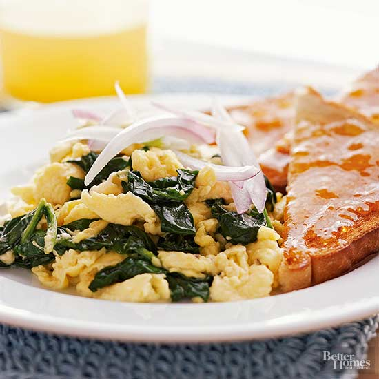 Greek-style scrambled eggs with spinach