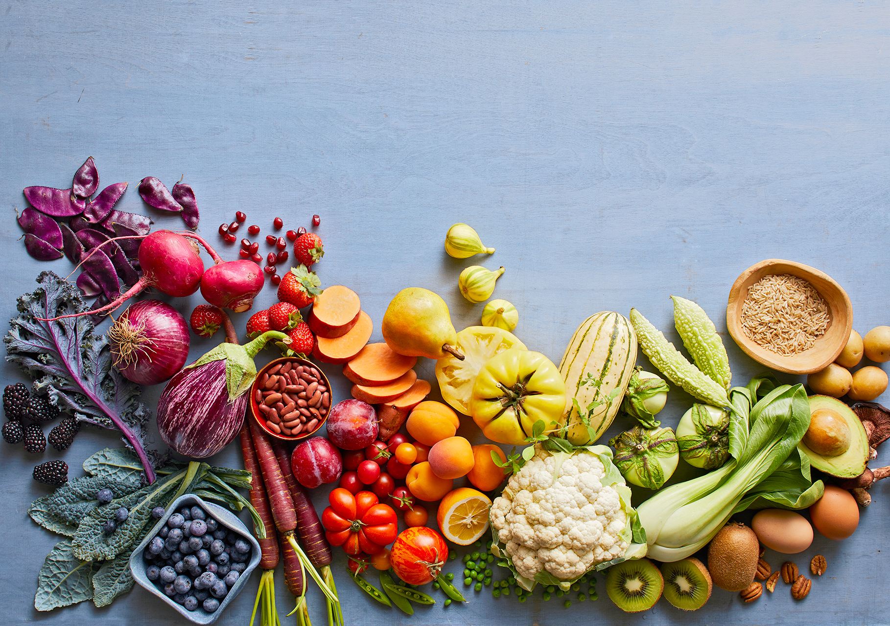 vegetables and fruits in spectrum of color