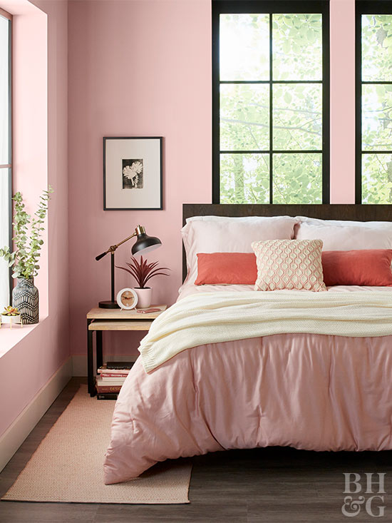 off-white and pink bedding