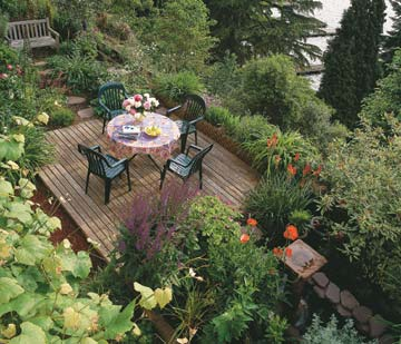 Hillside deck with mature plantings