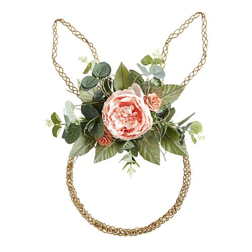 Gold bunny wreath with flowers and greenery