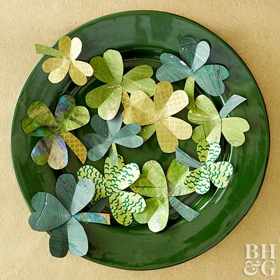 diy marbled paper clovers on plate