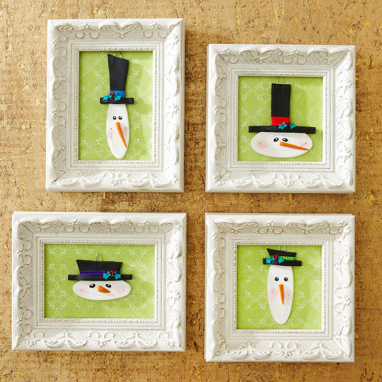 Framed Snowman Ornaments