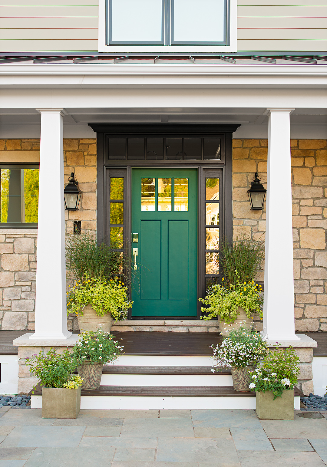 Front Door Green Color Steps House