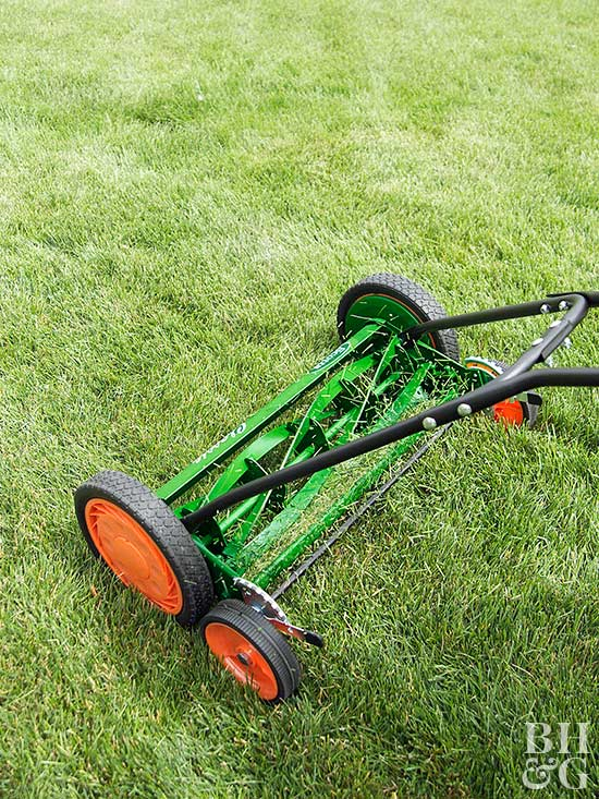 Green push reel mower on grass
