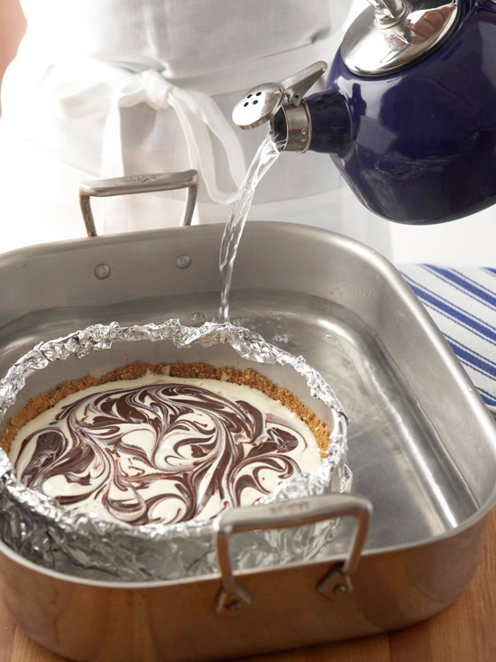 Pouring water into pan