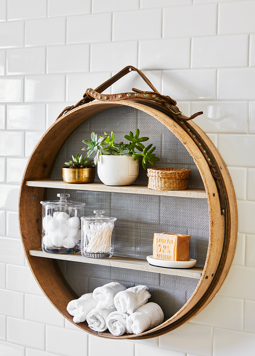 shelving unit made with grain sifter