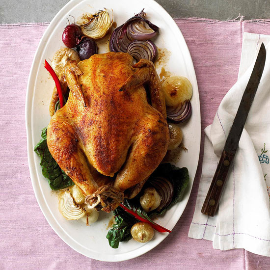 Spice-Rubbed Chicken with Roasted Onions