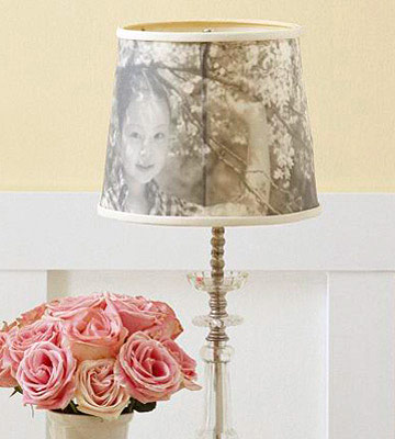 Detail of photos on lamp