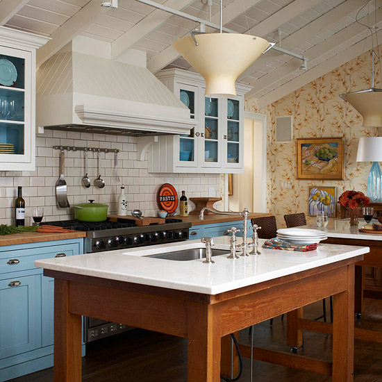 Blue and White Mission-Style Kitchen