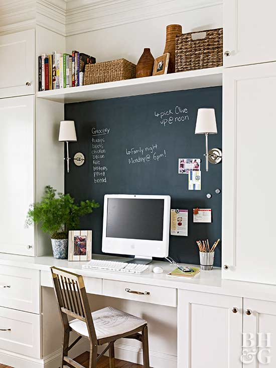 kitchen computer desk with chalkboard wall