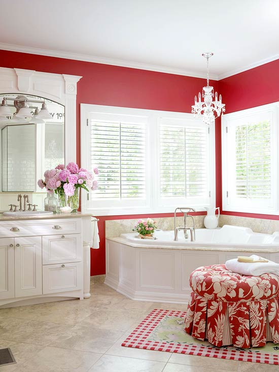 Red-and-White Cottage Bathroom & Red Bathroom Design Ideas