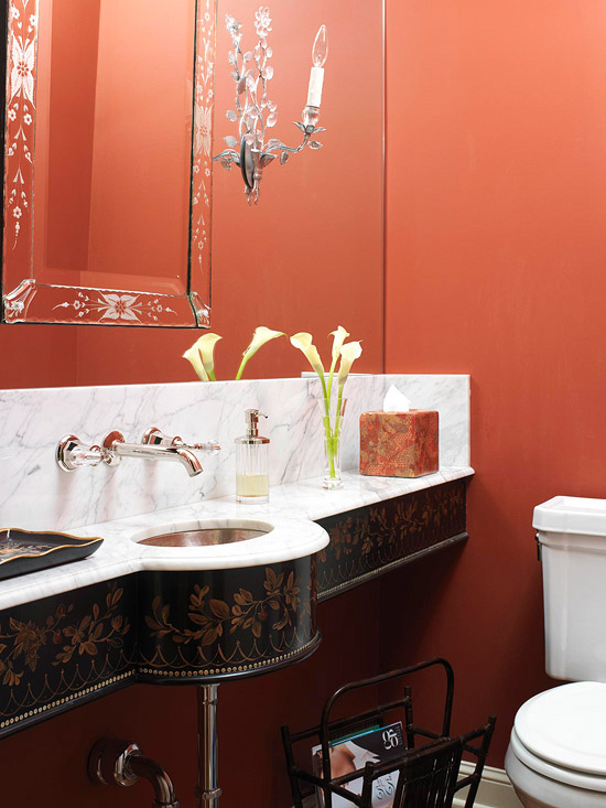 Brick Red Powder Room