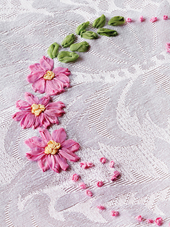 Closeup-up of ribbon embroidery flower