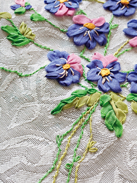 Detail of ribbon embroidered flowers