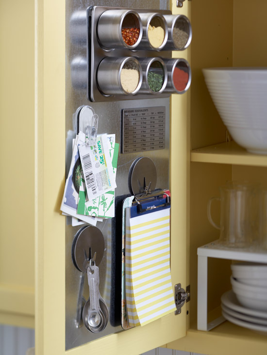 Magnetic panel holding spice tins