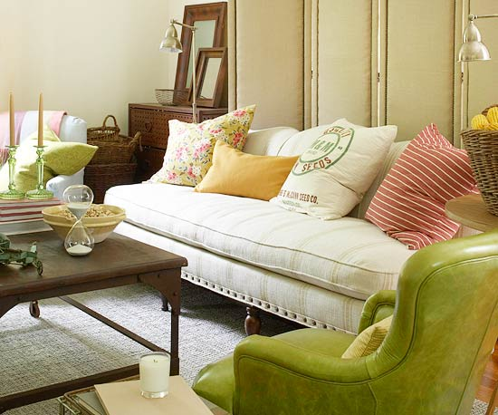 Green living room chair
