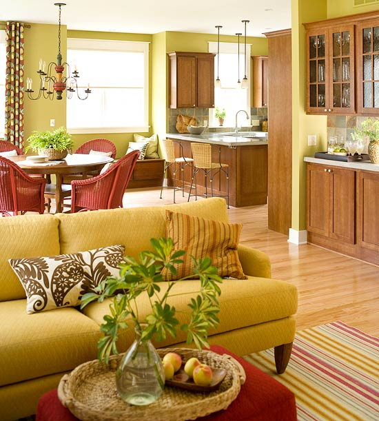 Warm Greens. Lime Green Living Room