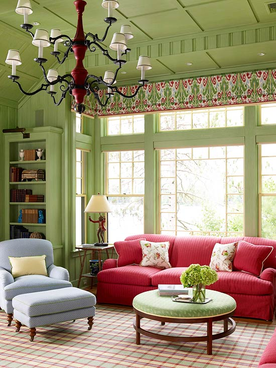 Paint The Ceiling. Green Living Room With Bright Accents
