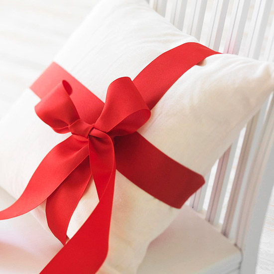 Top Indoor Christmas Decoration: Ribbon-Wrapped Pillow
