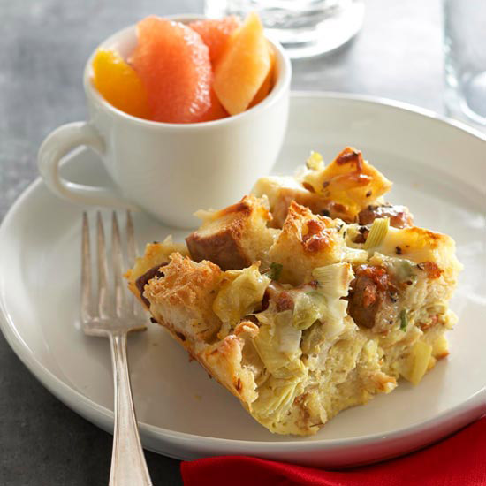 Three-Cheese Artichoke Strata