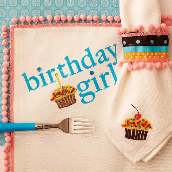 Birthday Girl Place Mat and Napkin