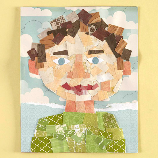 Paper scrap collage of a child with blue sky and cloud background.