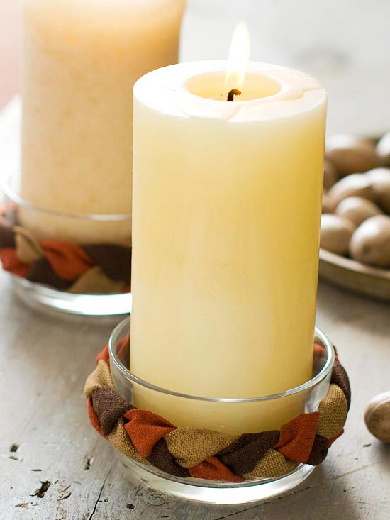Natural Braided Candle Holder