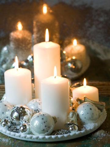 Pillar candles and Christmas Ornaments