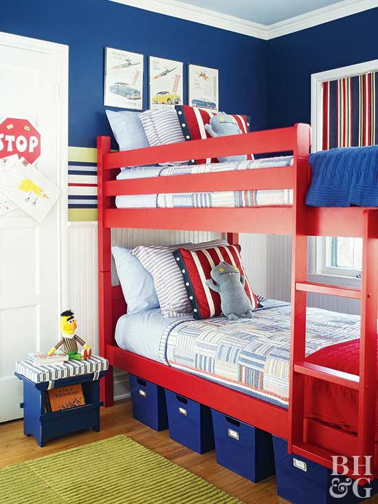 kids room with blue walls and red bunk bed & Shared Spaces: Bedrooms for Two Kids | Better Homes \u0026 Gardens
