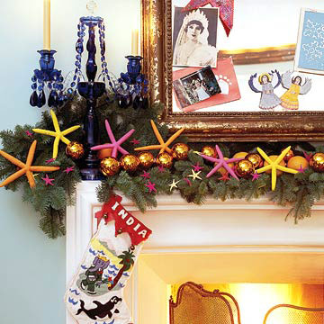DecoratingNov04_Mantel decorated with colorful sea stars and garland