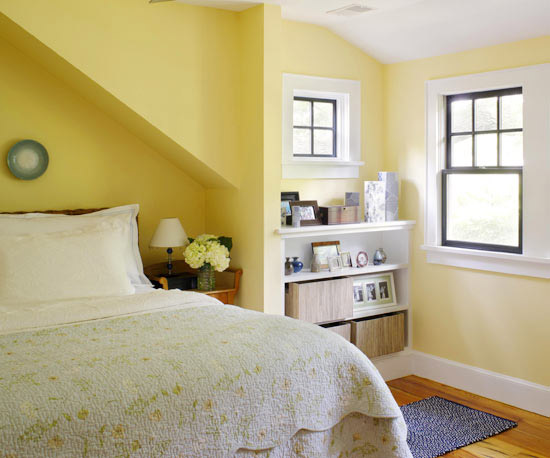 angled warm yellow bedroom