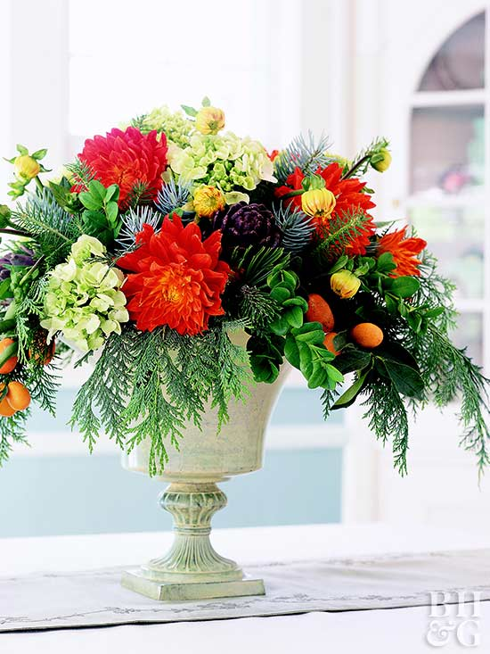Evergreen and Flower Centerpiece