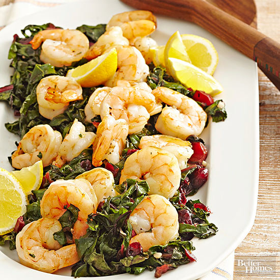 Roasted Shrimp and Swiss Chard with Cranberries