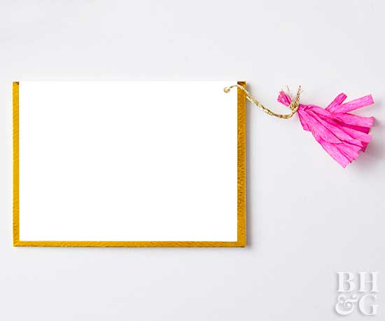 card with tissue paper tassel