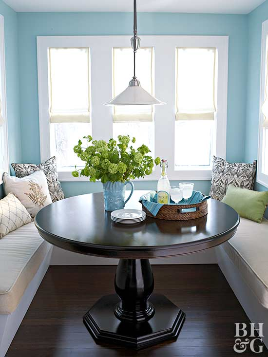built-in banquette with wrap-around seating