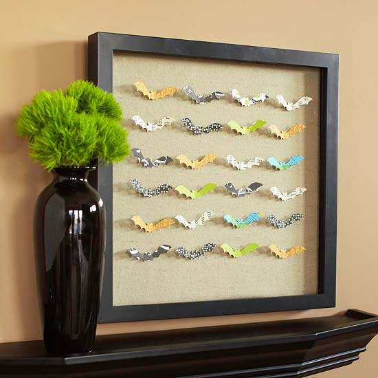 Paper Bats in a Picture Frame